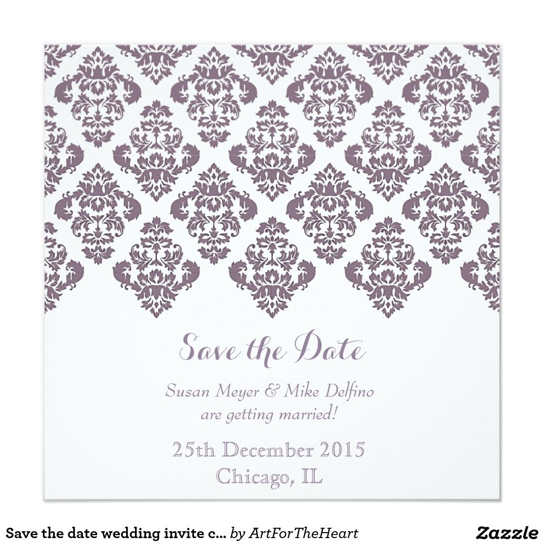 Save The Date Wedding Invite Card Purple Damask Save The Date