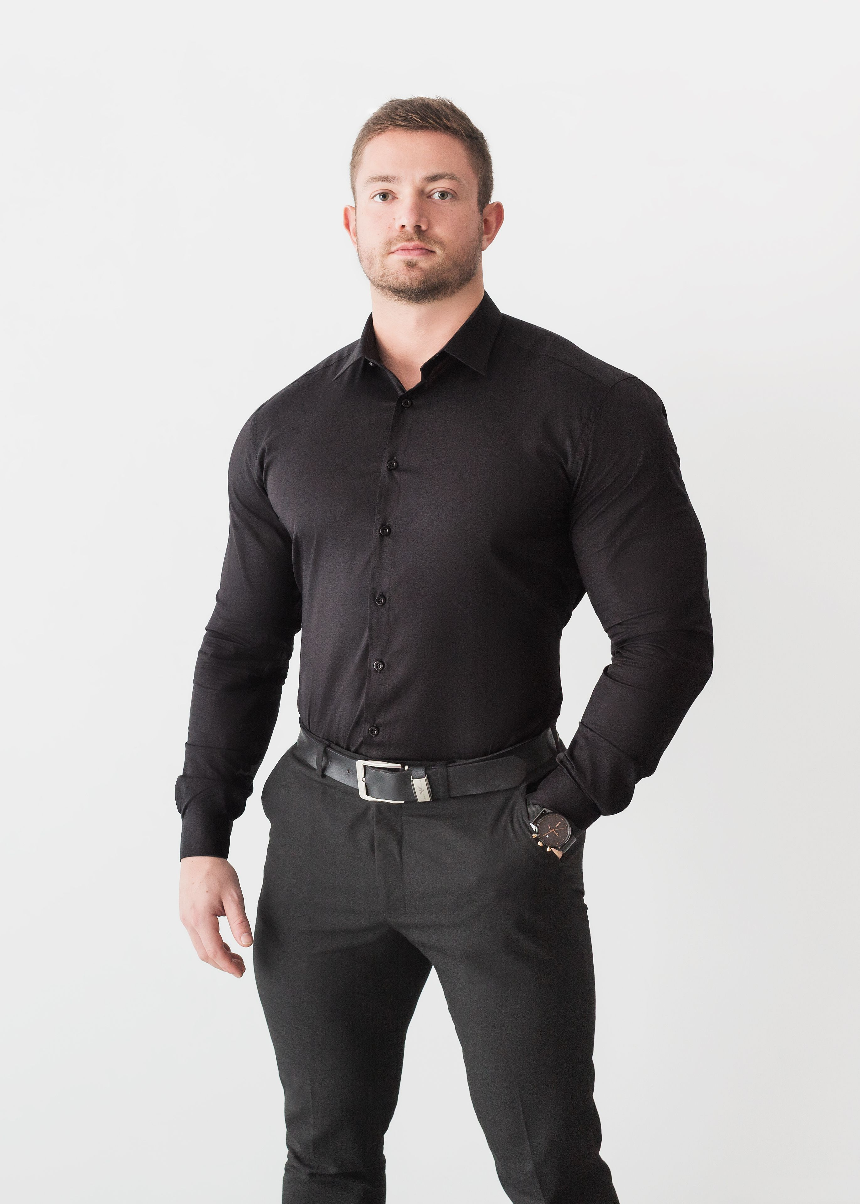 Black Tapered Fit Shirt Mens Fashion Suits Mens Outfits Workout Shirts [ 3837 x 2741 Pixel ]