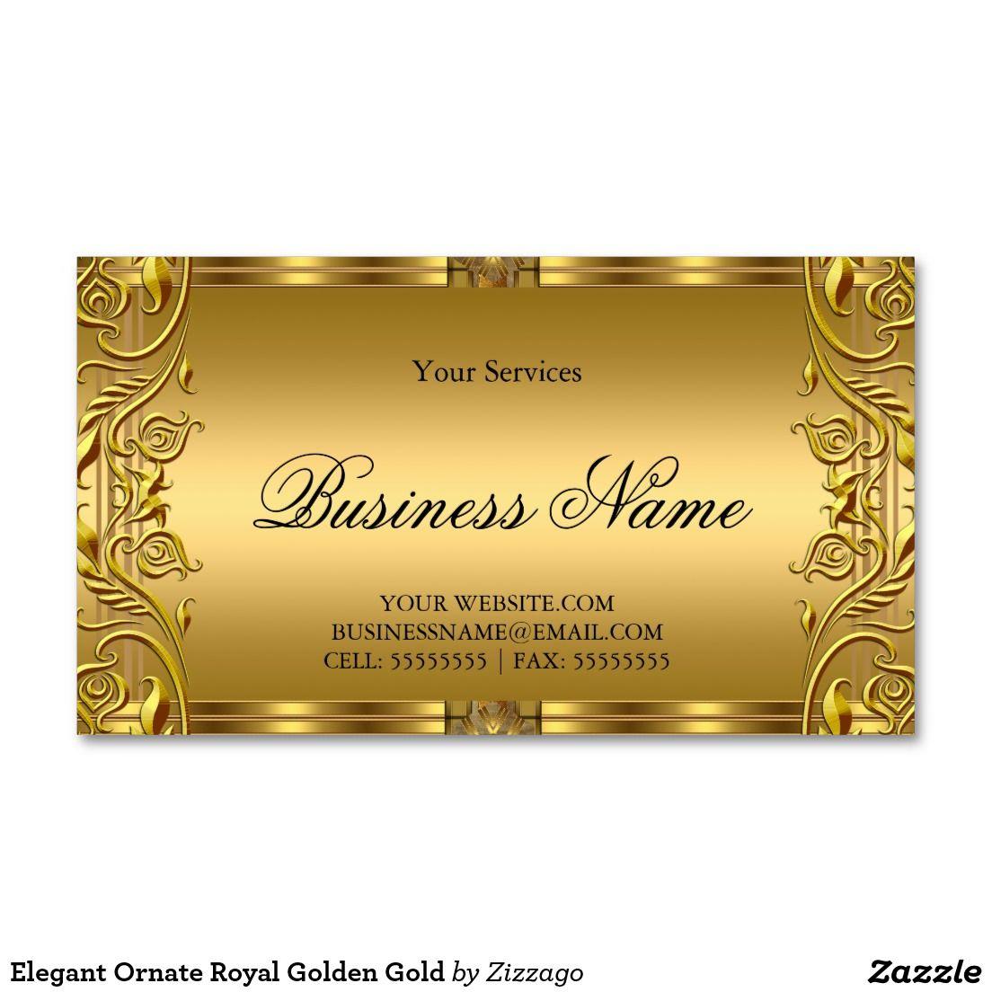 Elegant Ornate Royal Golden Gold Business Card Zazzle Com In 2021 Gold Business Card Metal Business Cards Printing Business Cards