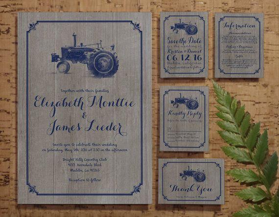 Farm Style Wedding Invitations: Farm Tractor Wedding Invitation Set/Suite By