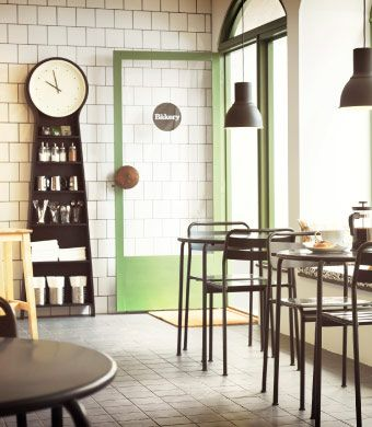 A small café with grey tables and chairs CAFE Pinterest