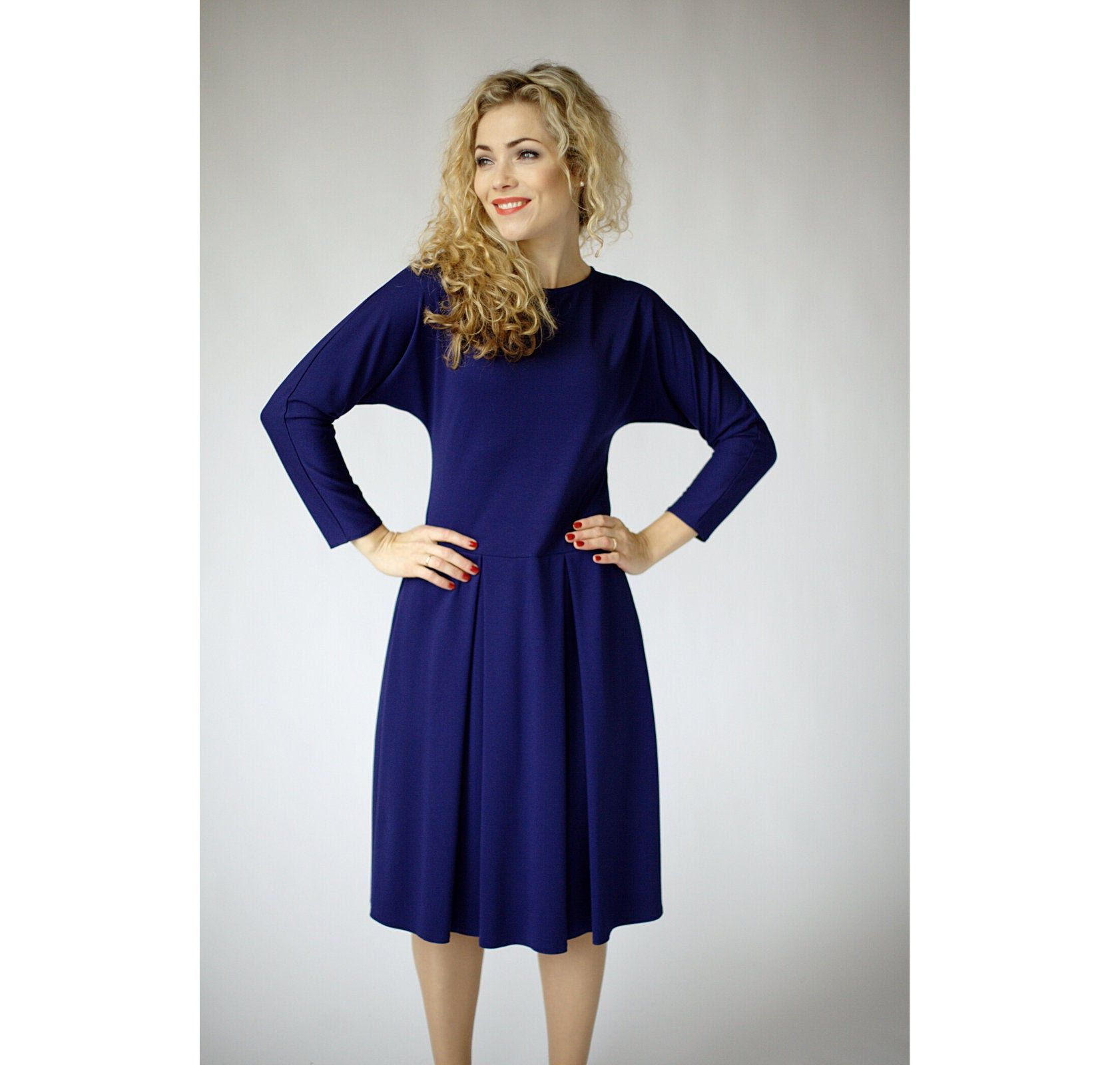 Navy Blue Long Sleeve Dress With Pockets And Folded Bottom Casual Dresses For Wome Blue Long Sleeve Dress Casual Dresses For Women Navy Blue Long Sleeve Dress [ 1600 x 1682 Pixel ]