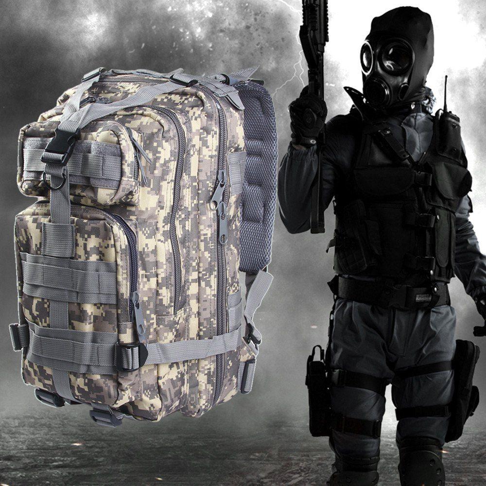 3 P Ransel Taktis Militer Berburu Assault Kamuflase Tas Pria Oxford Tas Olahraga 30L untuk Camping Berburu Hiking Trekking