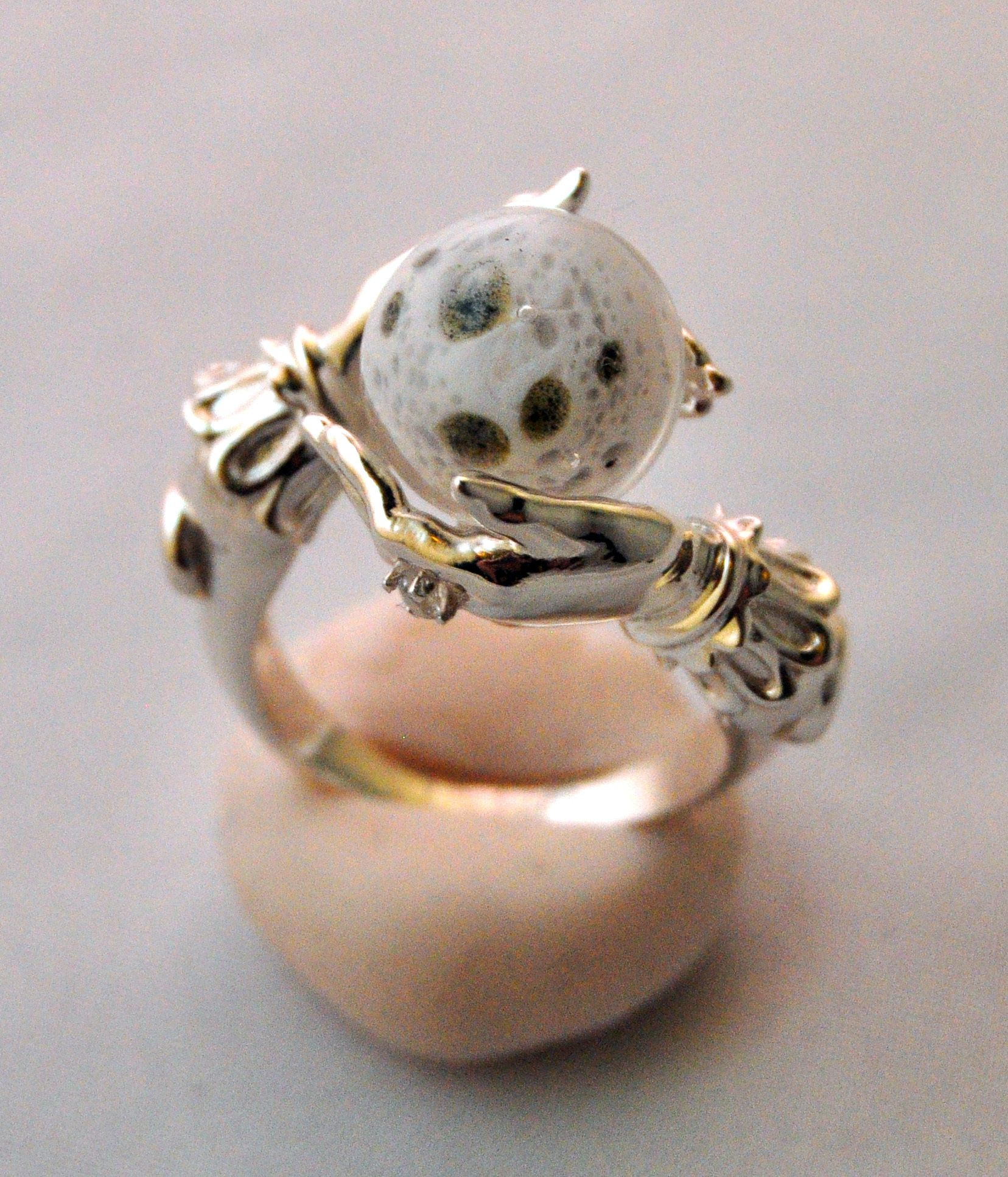 Celestial Lunar Oracle ring by Omnia Sterling silver with full moon
