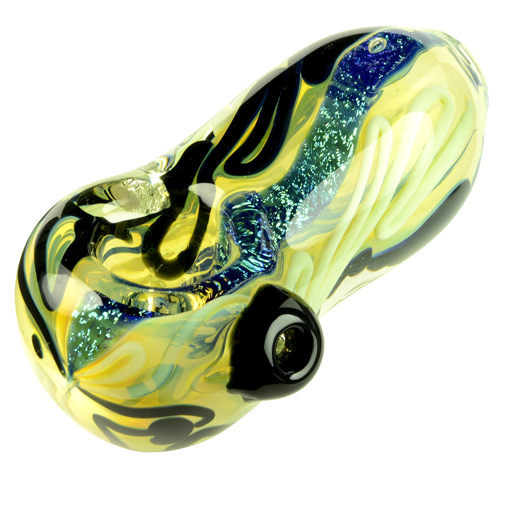 UPC Heavy Inside-Out Egg Spoon Pipe with Slyme Black & Dichro Strings