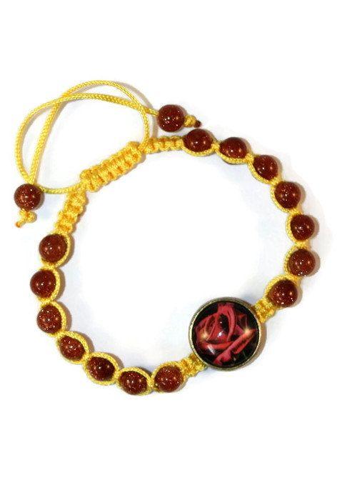 Goldstone Floral Boho Bracelet Bracelet by MaKatarinaCorner #bohobracelet , #bohojewelry , #shamballabracelet , #rainbowbracelet , #floralbracelet , #goldstonebracelet   #macramebracelet , #wrapbracelet