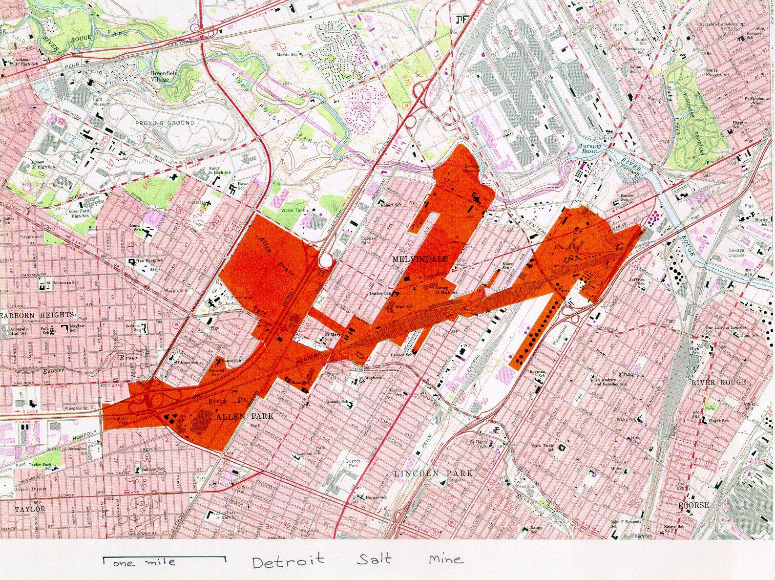 detroit salt mines map Detroit Salt Mine Map Showing The Extent Of Underground Mining detroit salt mines map