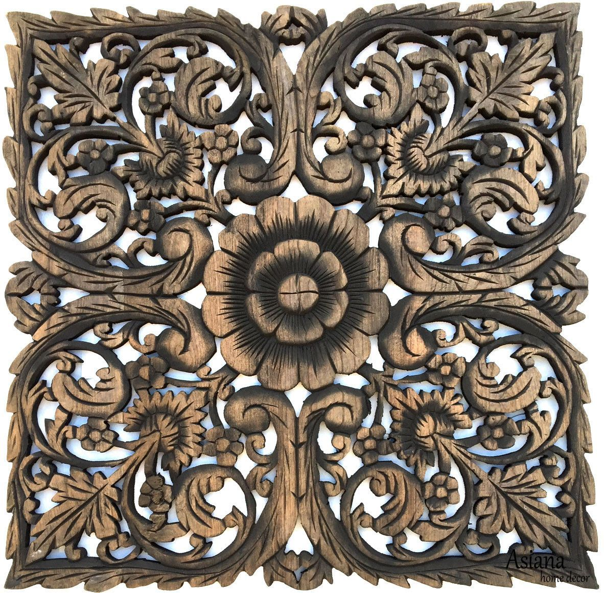 Oriental home decorlarge square floral wood wall hangingrustic