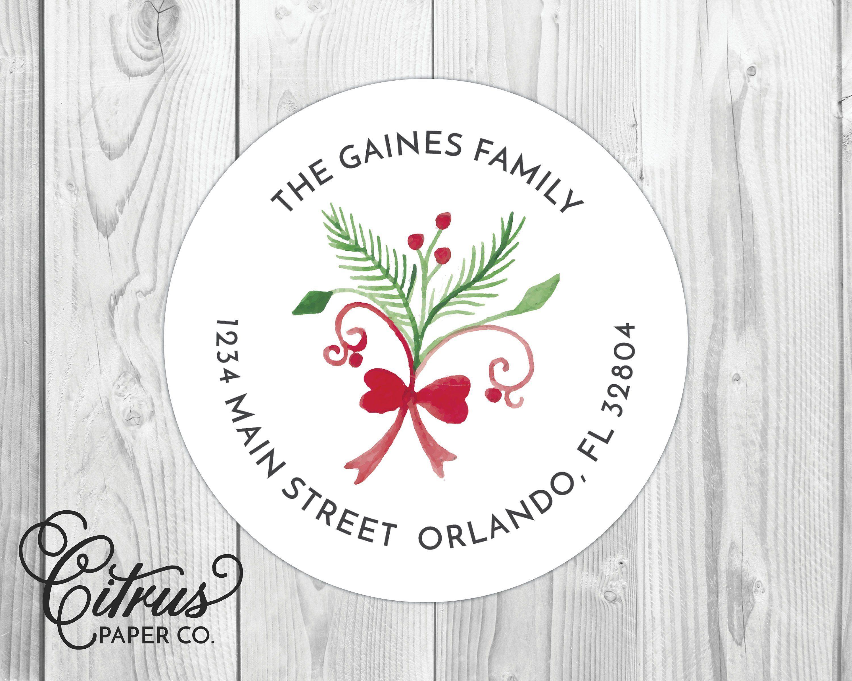 Christmas return address label christmas cards holiday sticker round circle 2 inch stationery stationary set custom family minimalist floral by