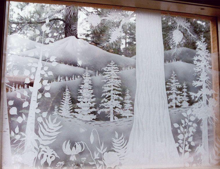 winter window painting ideas   Sandblasted Window in ...