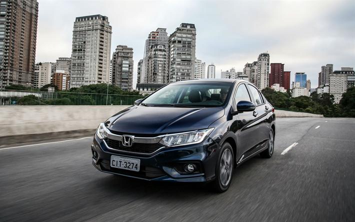 Download Wallpapers Honda City 2018 4k Compact Sedan Blue City