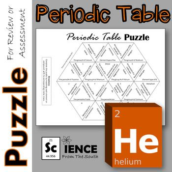 Periodic table puzzle for review or assessment periodic table fun activity to help students learn about the periodic table arrangement urtaz Images