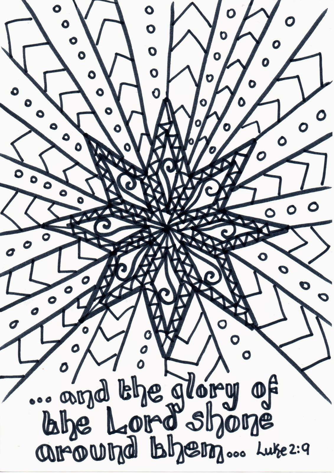 Nativity Star Reflective Colouring Page Flame Creative