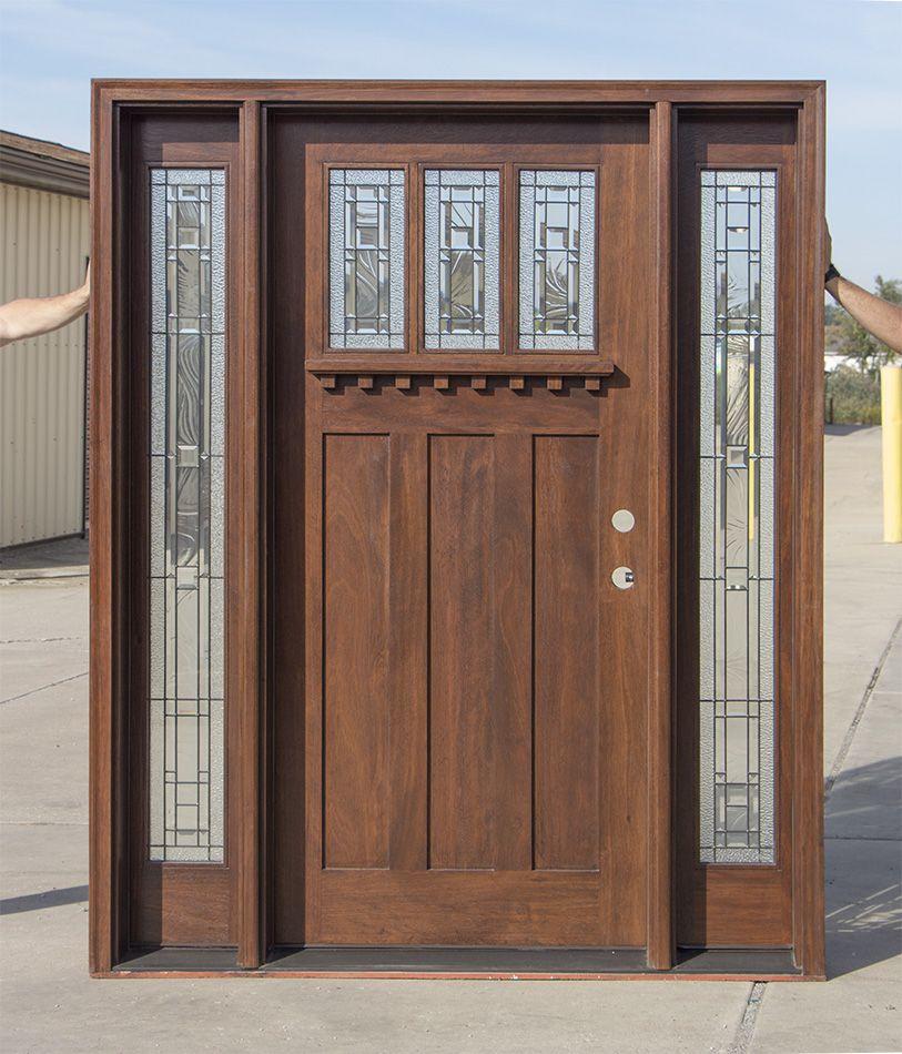 Craftsman Exterior Door With Venting Sidelites Door Glass Design Exterior Doors Craftsman Exterior Door