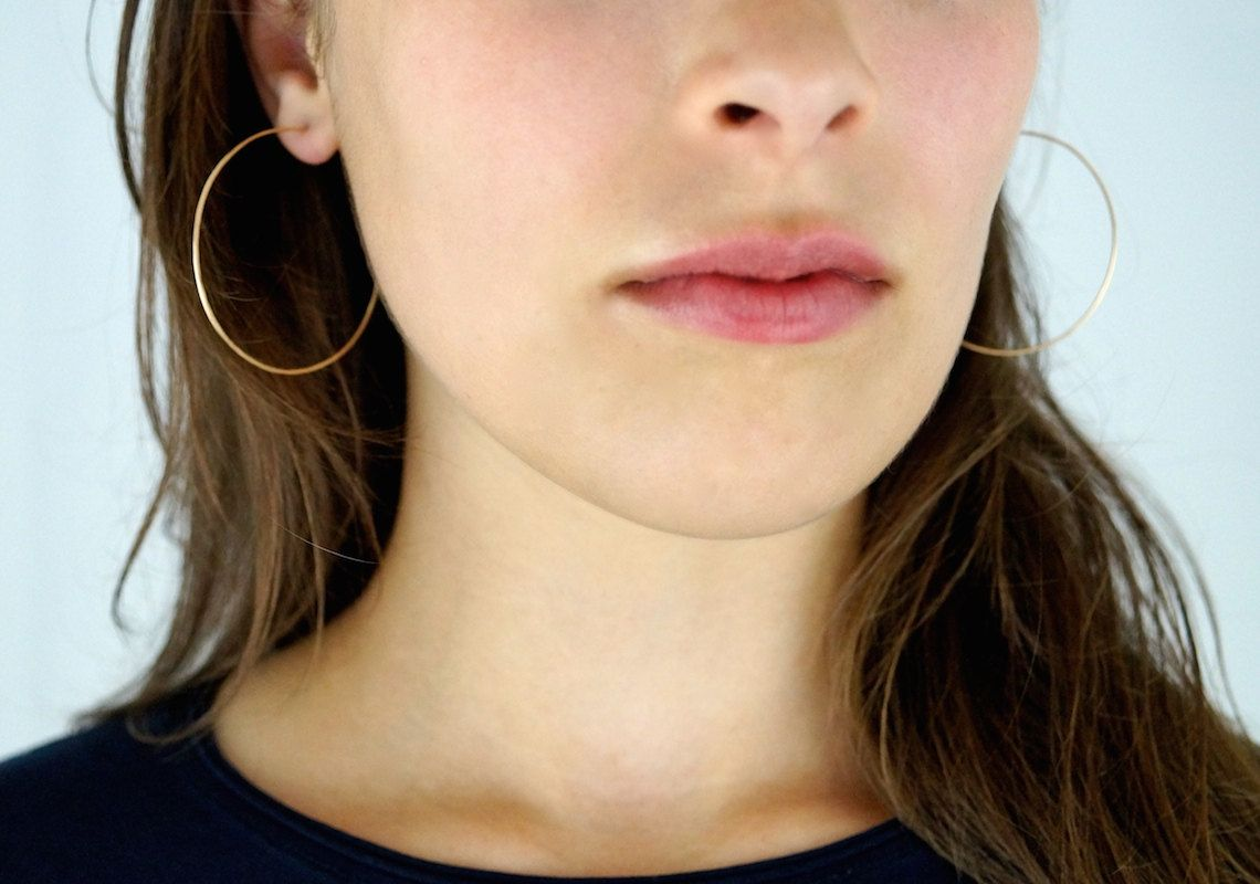 Hammered Hoops In Gold Fill Large Hoop Earrings Thin 2 Inch