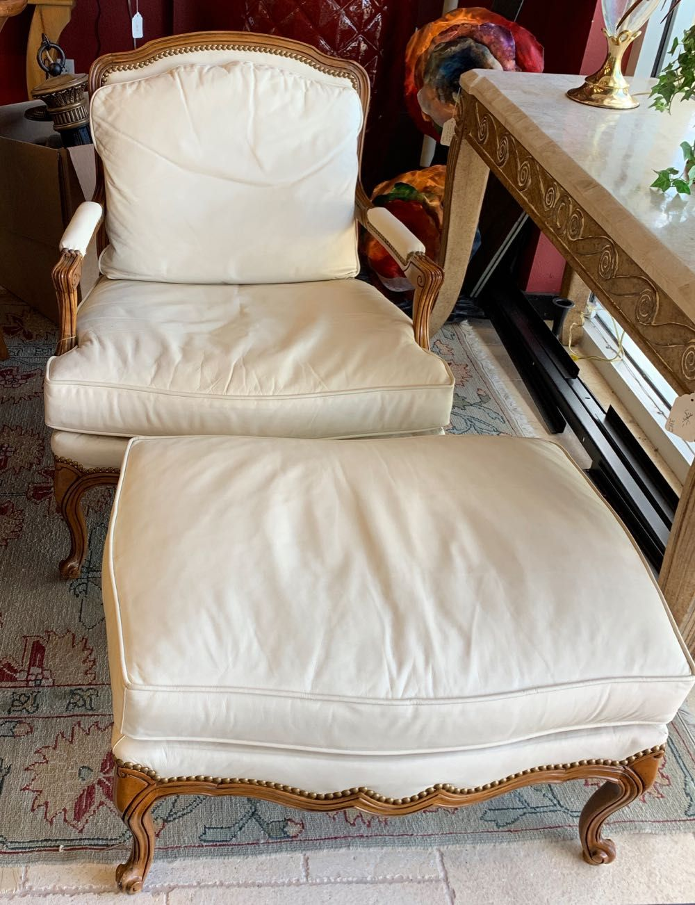Vintage Drexel Heritage Bergere Chair With Ottoman The