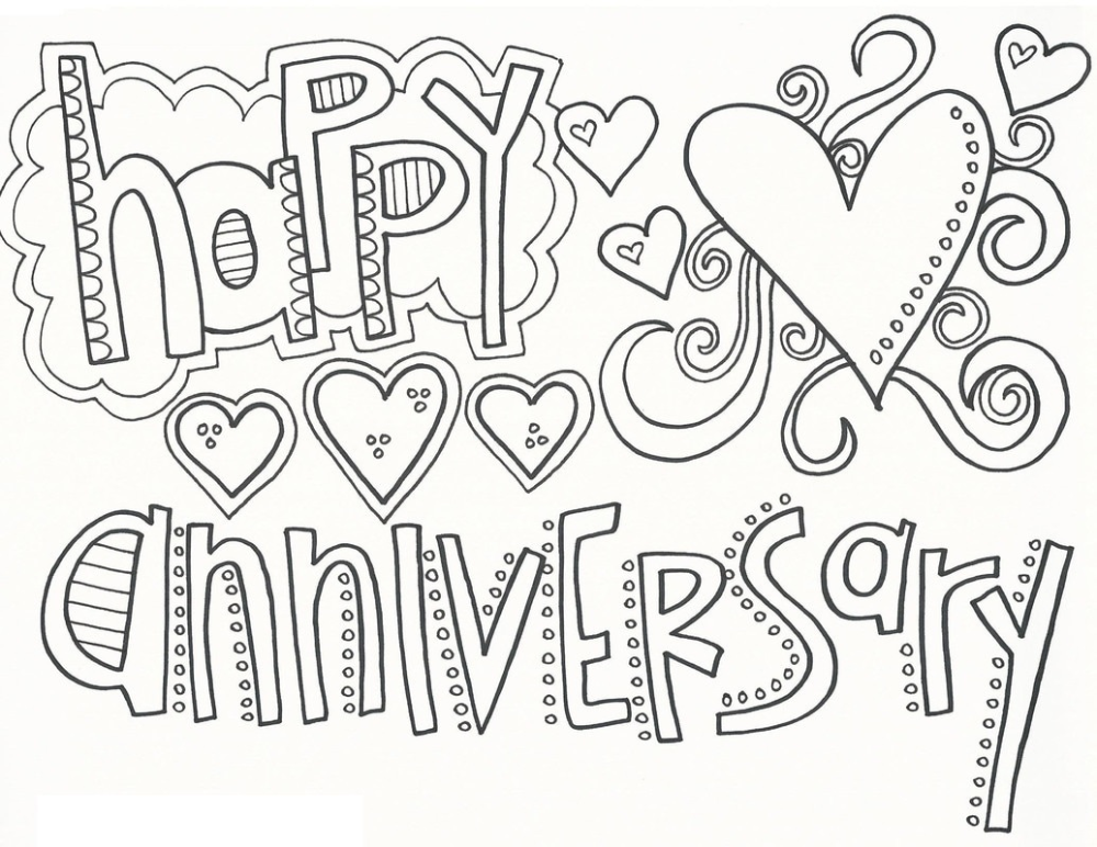 Happy Anniversary Coloring Page Educative Printable Happy Birthday Coloring Pages Printable Anniversary Cards Birthday Coloring Pages
