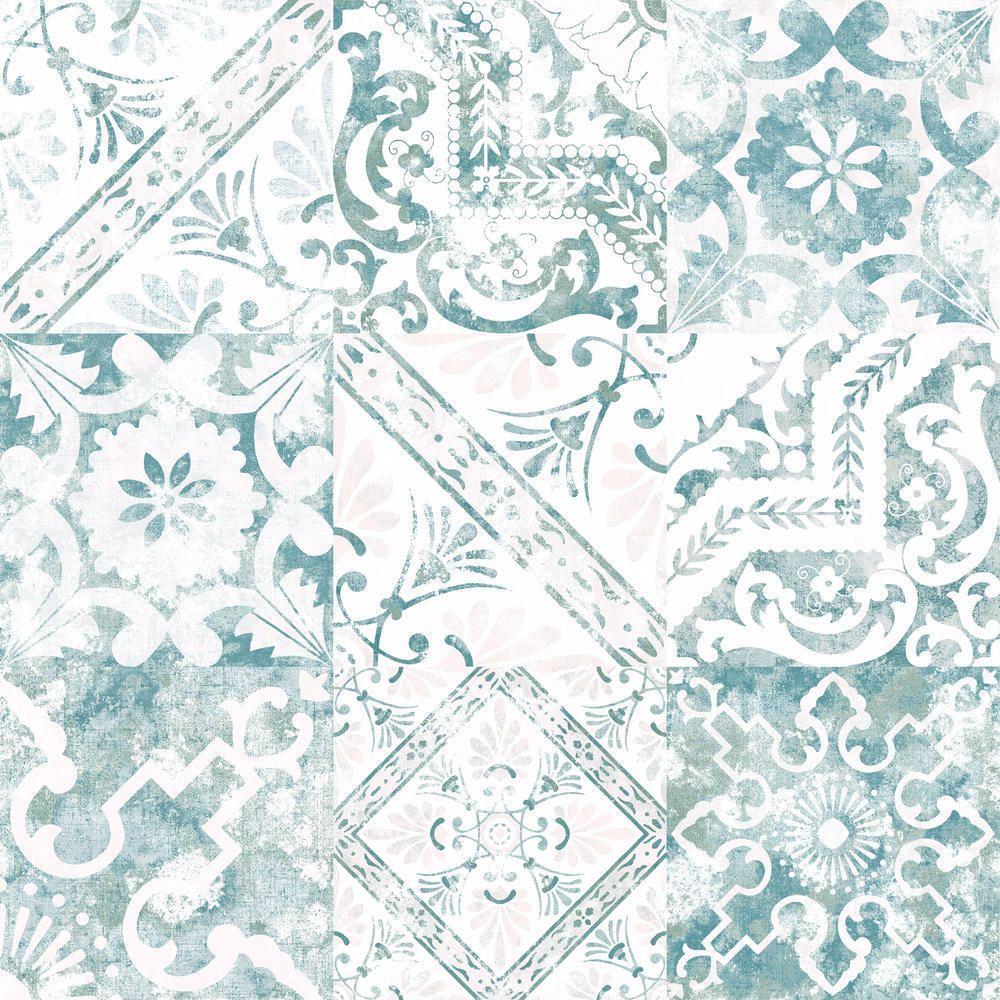 Tapete Auf Fliesen details zu grandeco tapete türkis vp2204 fliese mosaik vintage