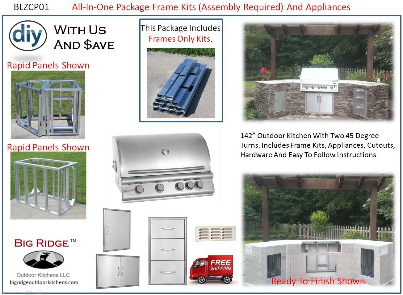 Blzp01 Outdoor Kitchen Kit Package Blaze Appliance And Module Frame Kits Assembly Required Outdoor Patio Ideas Backyards Outdoor Kitchen Kits Outdoor Kitchen