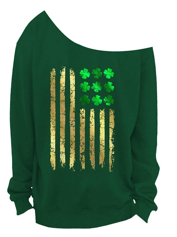 317c49dd1 LADIES St PATRICKS DAY Slouchy Sweater - Irish American Flag - Womens Off  The Shoulder Slouchy Sweat