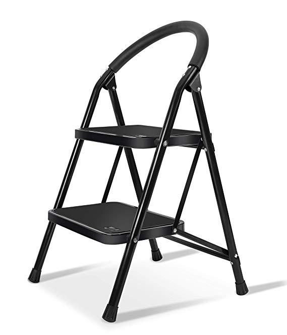 Lightweight 2 Step Ladder Steel Folding Anti Slip Pedal 330lbs Capacity Ladder For Kitchen Amazon Com Step Ladders Folding Step Stool Step Stool