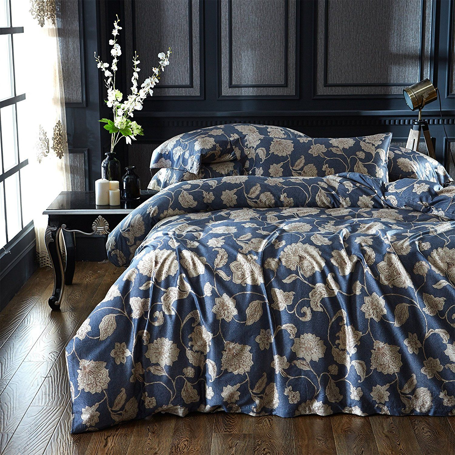 Navy blue and tan bedding - White And Blue Floral Bedding Brandream Eastern Floral Chinoiserie Blossom Print Duvet Quilt Cover Navy