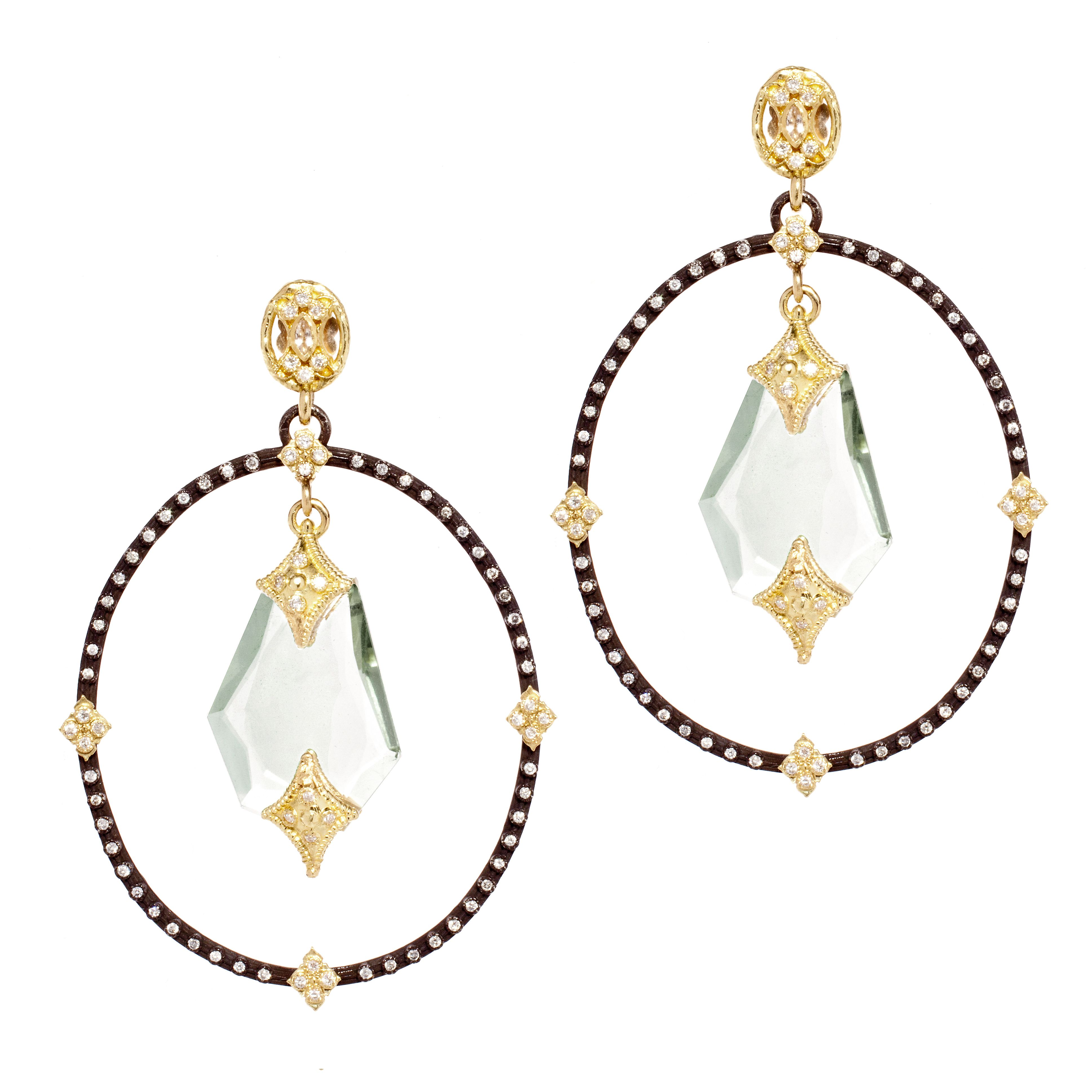 Stunning Diamond Earrings With Green Amethyst Slices Image Property Of