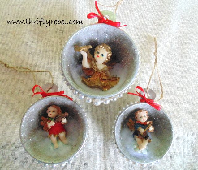 Upcycling with Junkin Joe Fabulous Features and a Linky Part ALL WELCOME - The Cottage Market. Super-cute measuring cup ornaments.
