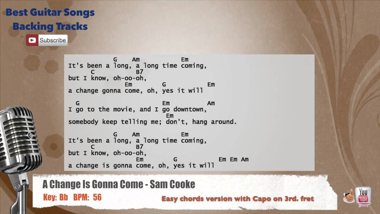 A Change Is Gonna Come - Sam Cooke Vocal Backing Track with