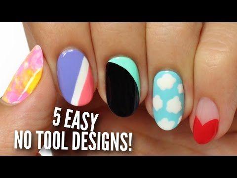 No Tool Nail Art 5 Easy Cute Designs Youtube Simple Nail Art Designs Nail Art For Kids Cute Nail Art Designs