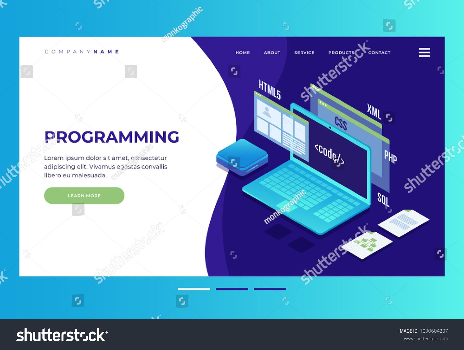 Header For Website Homepage Concept Of Web Development Programming And Coding Elements Of Interface And Browser Win Concept Web Web Development Development