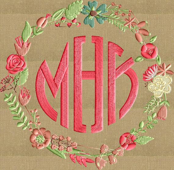 Floral Font Frame Monogram Embroidery Design - Font not included - 2 ...