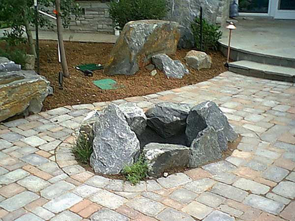 Small Natural Rustic Stone Fire Pit. Backyard ...
