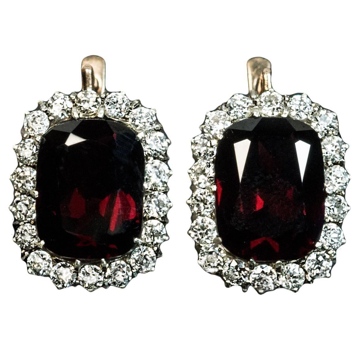 Antique Garnet Diamond Gold Cer Earrings