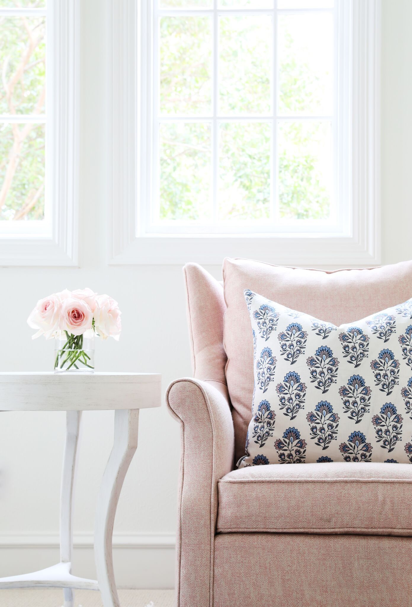 Block Print in French Blue & Blush Pillow | French country ...