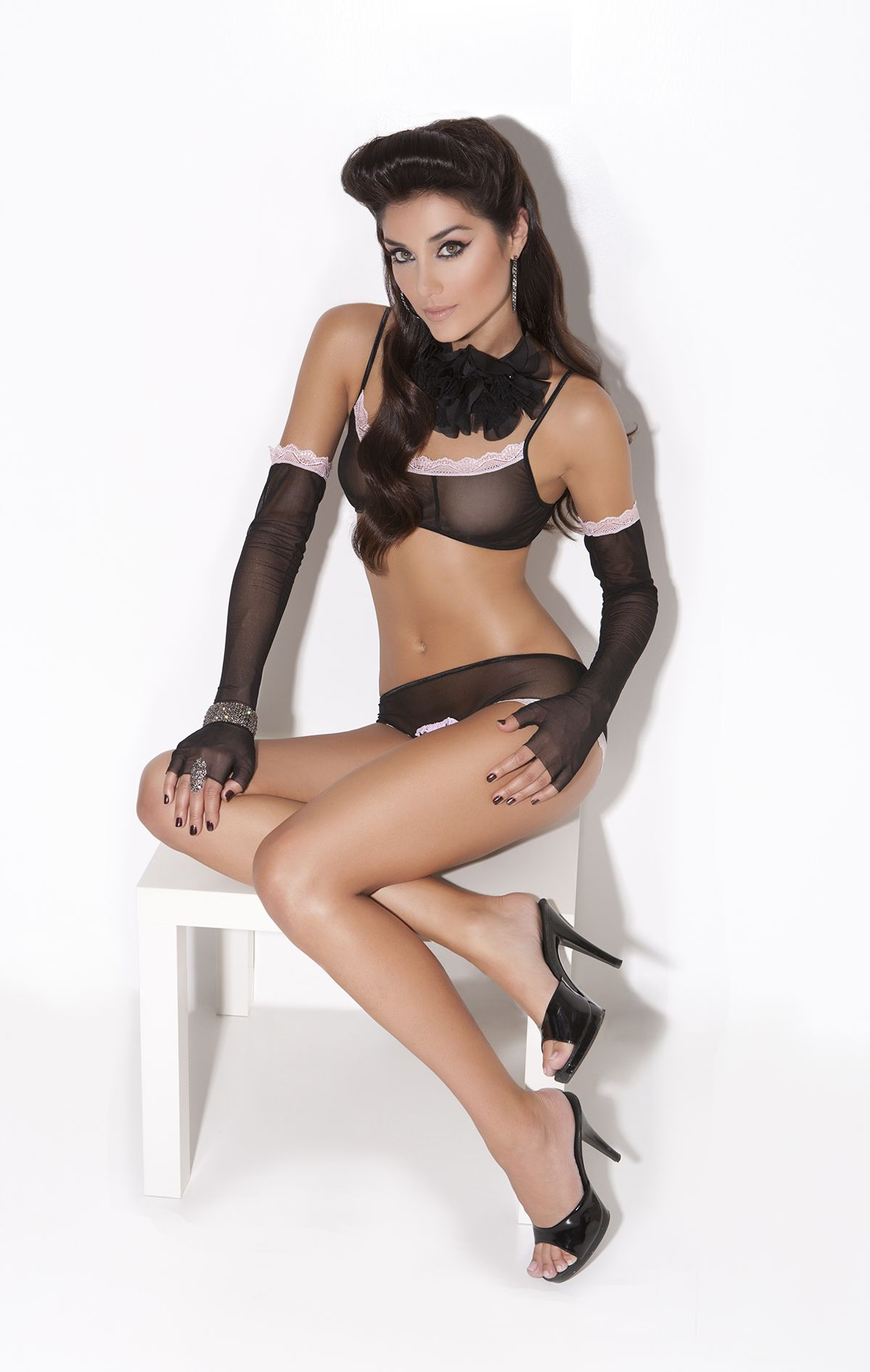 0d90b41880c Black and white complete lingerie set which includes a tube top in black  chiffon with black