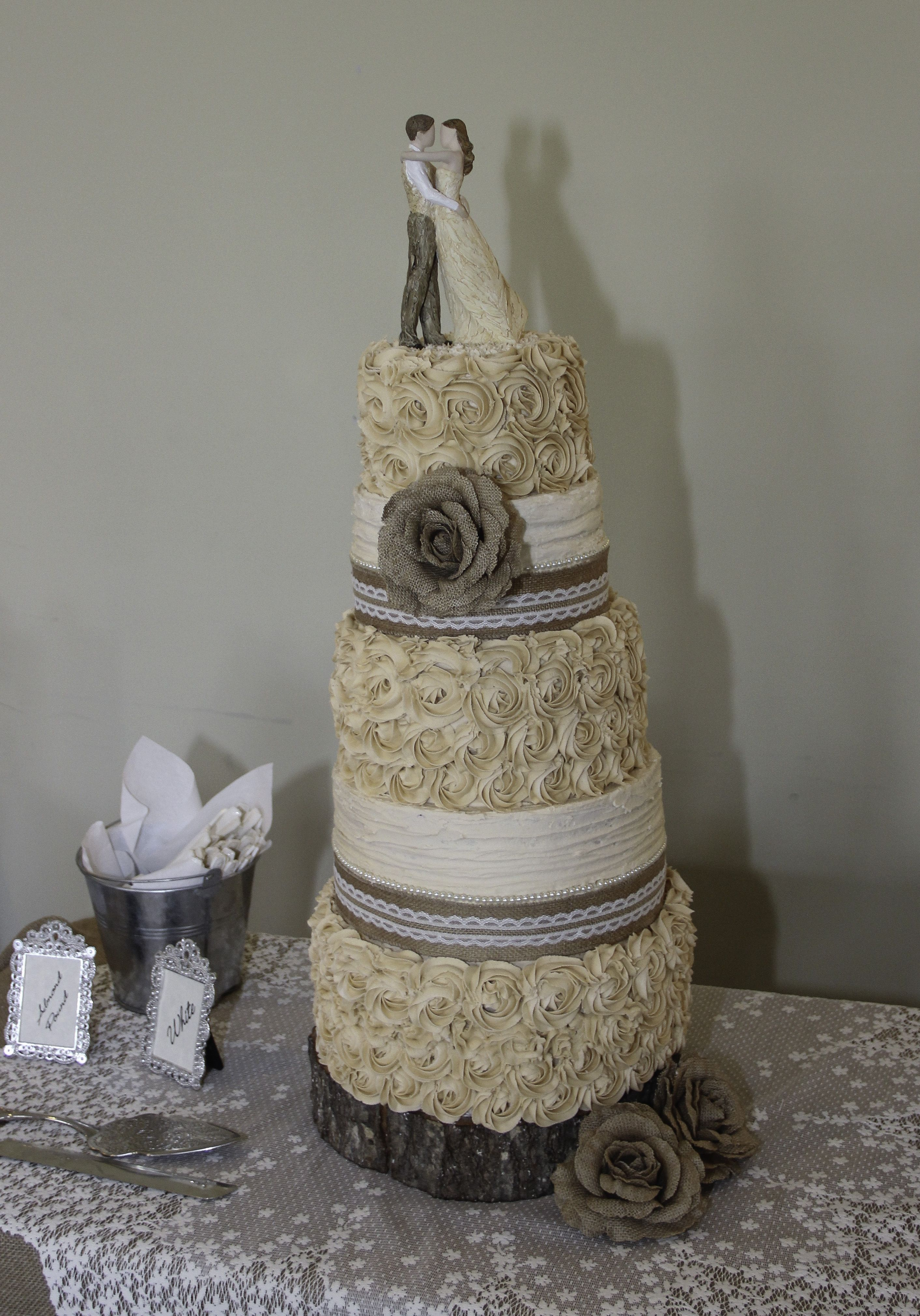Five Layer Burlap Lace And Pearls Rustic Wedding Cake With Rose Detail