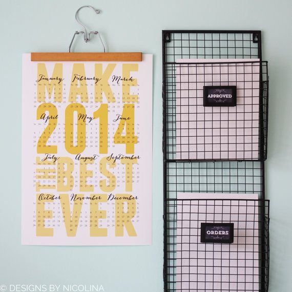 2014 WALL CALENDAR /// Make 2014 the Best Ever /// Poster Size 13x19