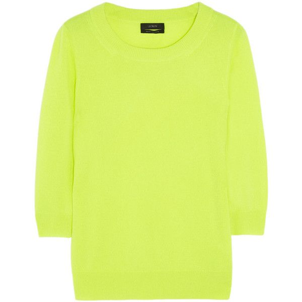 J.Crew Tippi neon fine-knit cashmere sweater ($130) ❤ liked on ...