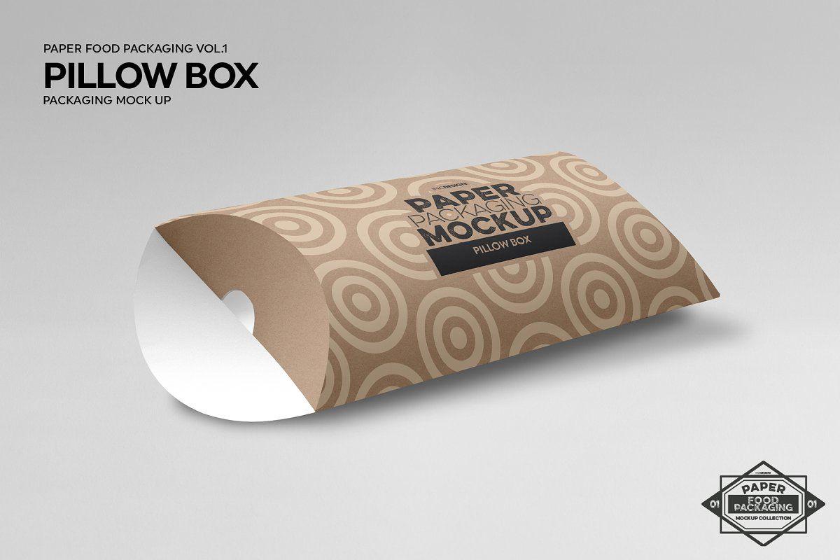 Pillow Box Packaging Mockup Sponsored Paper Food Packaging Item Pillow Box Packaging Mockup Box Packaging
