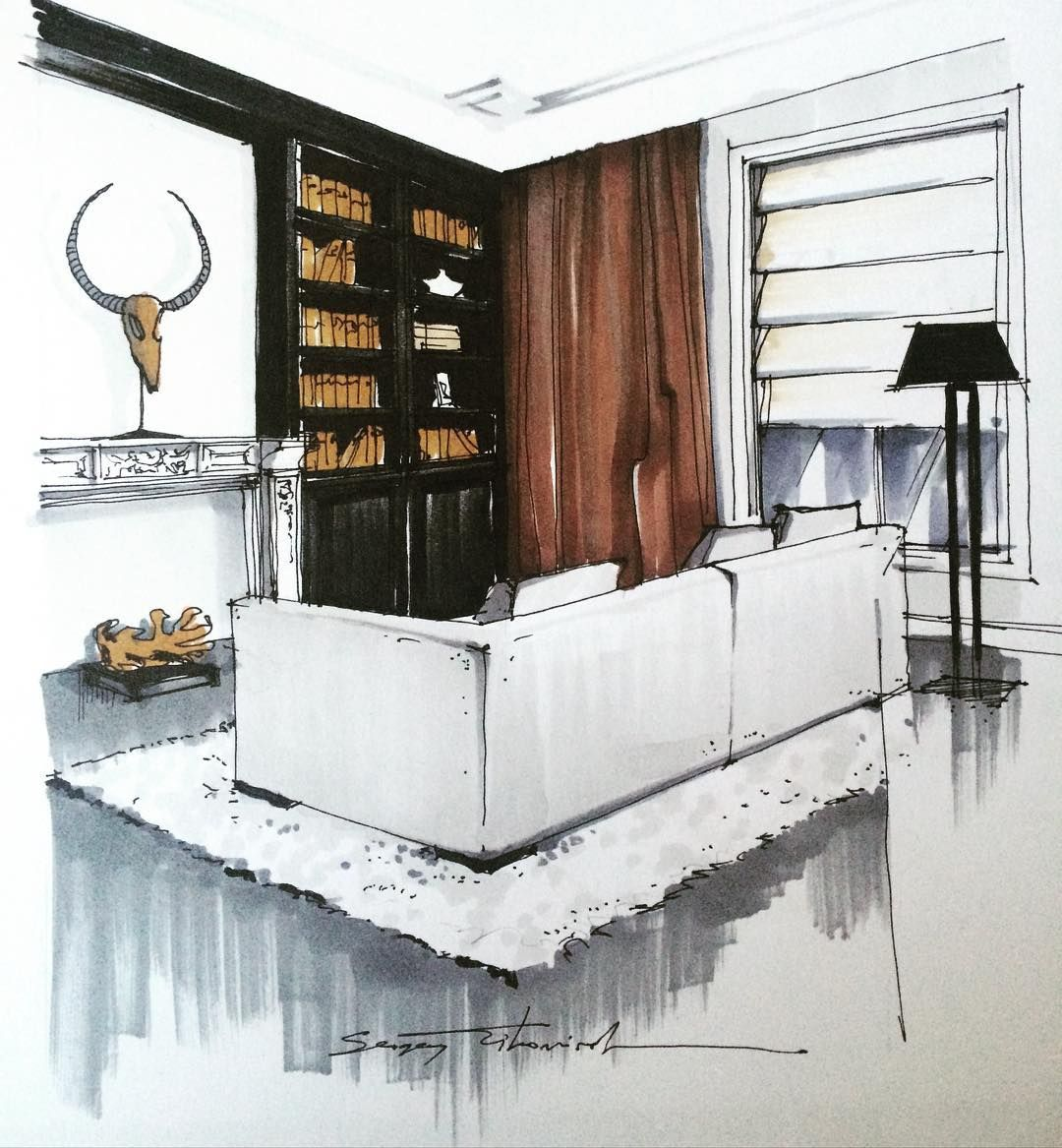 "Interior Design Sketch: LINE BOTWIN ""home Illustrations"" Great Mix Of Modern And"