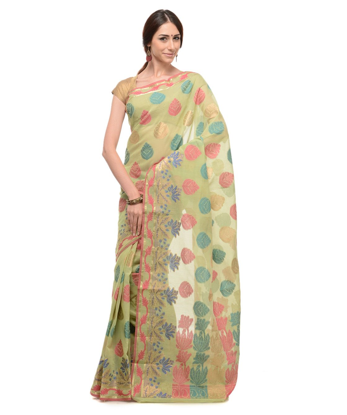 Buy cotton blend saree with blouse online at best price in India