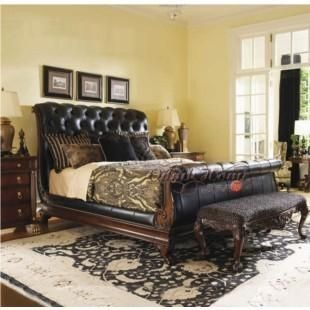 Delightful Neo Classical French Style Furniture Solid Wood Genuine Leather Bed 1