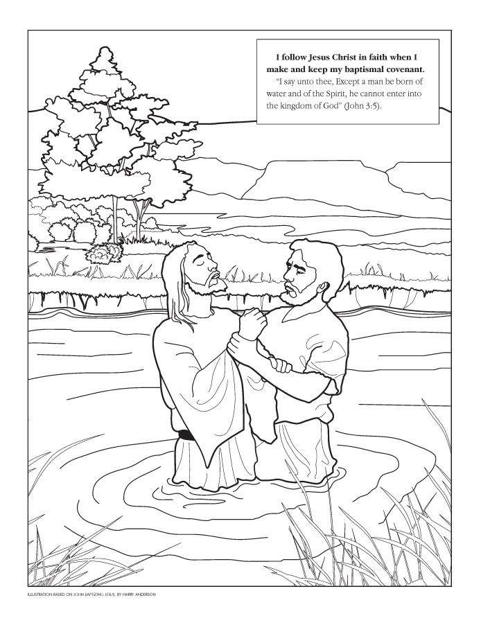 john baptizing jesus coloring page - Baptism Coloring Pages Printables