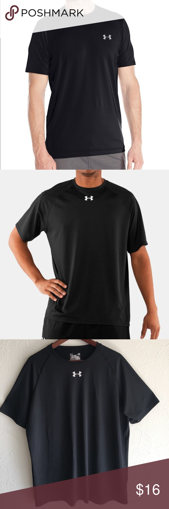 Under Armour Black Shirt Black Under armour men's shirt size Large (Loose) Like New No holes no stains Under Armour Shirts Tees - Short Sleeve