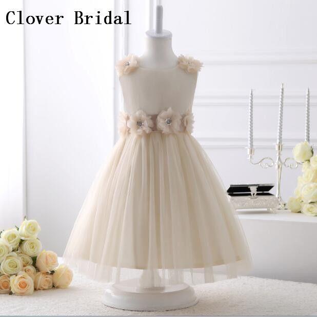 Champagne Flower Girl Dresses A Line Tulle Kids Pageant Gowns Custom  Communion Dresses Vestidos Daminhas Casamento d5052d2d38e6