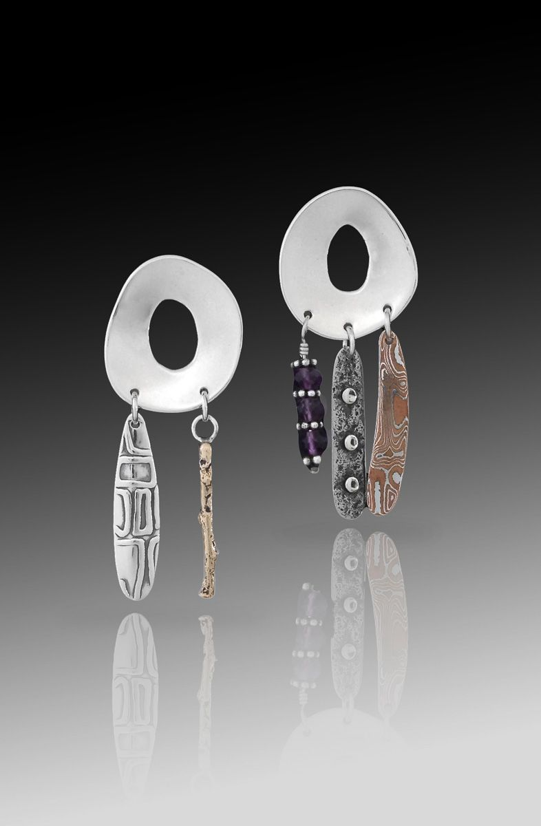 Corona w Mixed Metal and Amethyst Dangles by Richard Lindsay