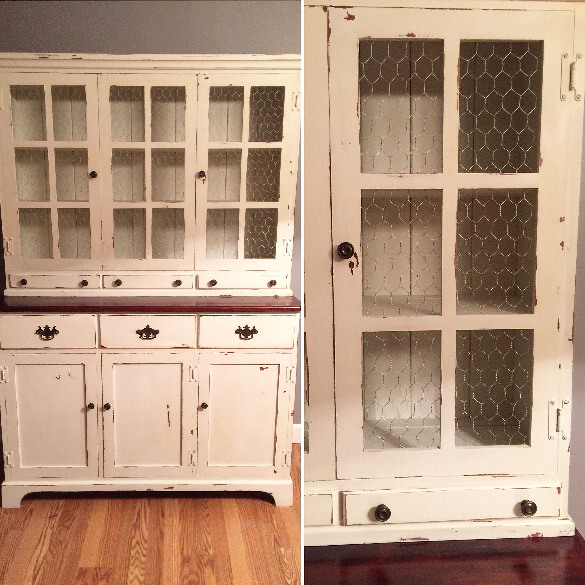 China Hutch Chicken Wire Doors Window Chalkpainted Valspar Chalky Finish Paint Her Dainties