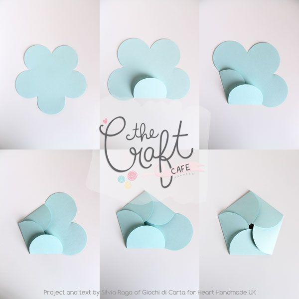 The Craft Cafe Shows You How To Make Flower Envelopes Heart Handmade Uk Diy Envelope Template Paper Crafts Handmade Envelopes