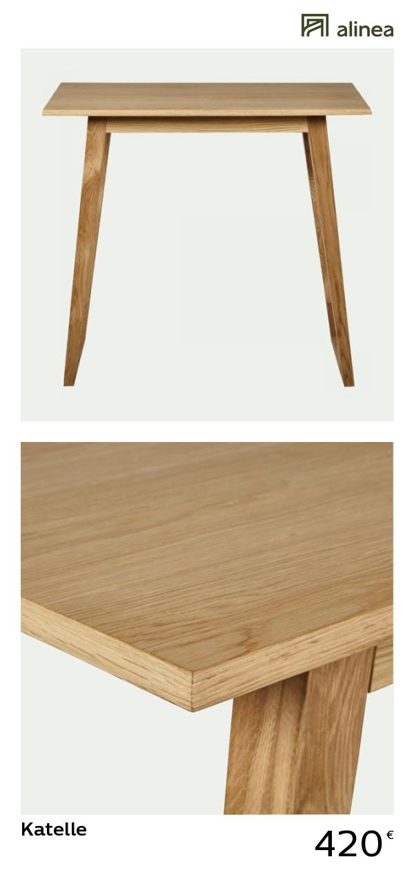 alinea : katelle table haute rectangulaire plaquée chêne ...